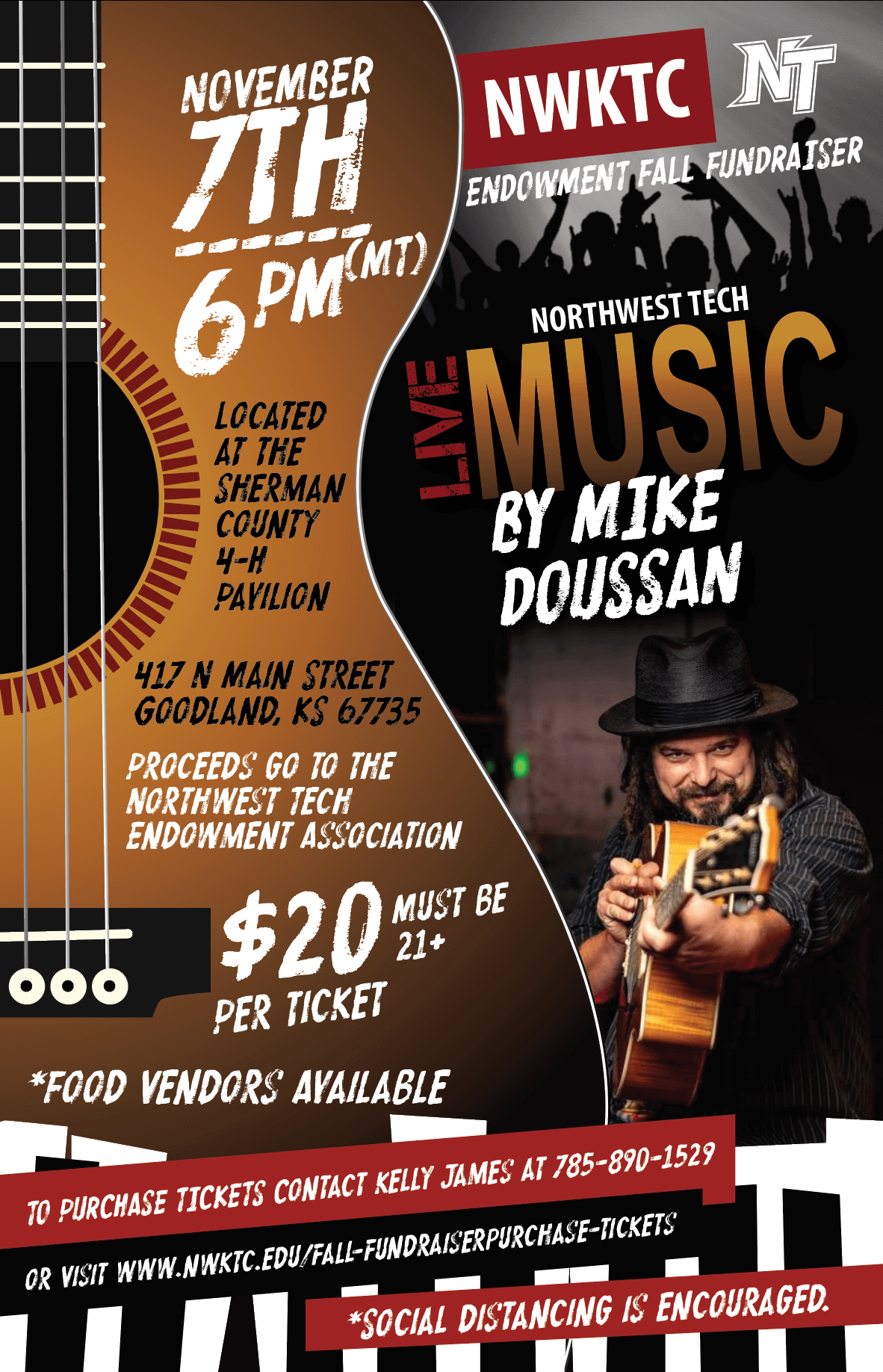 Fall Fundraiser Poster - Live Music Mike Doussan