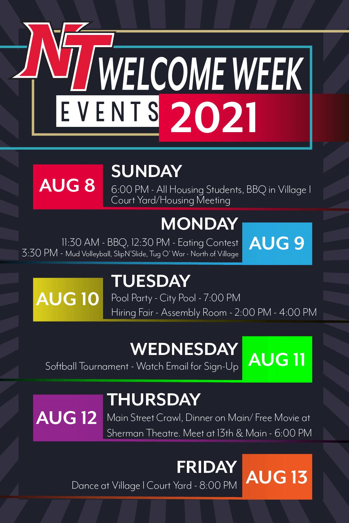 2021 Welcome Week Schedule